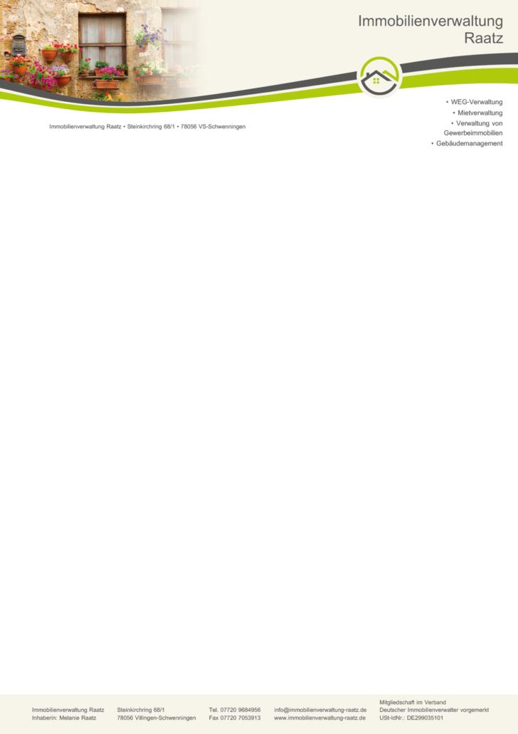 Briefpapier Immobilienverwaltung Raatz