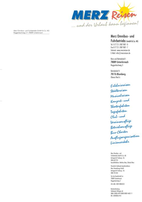 Briefpapier Merz-Reisen