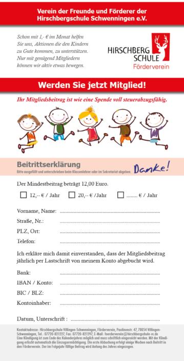 Flyer Förderverein Hirschbergschule Schwenningen (Rückseite)