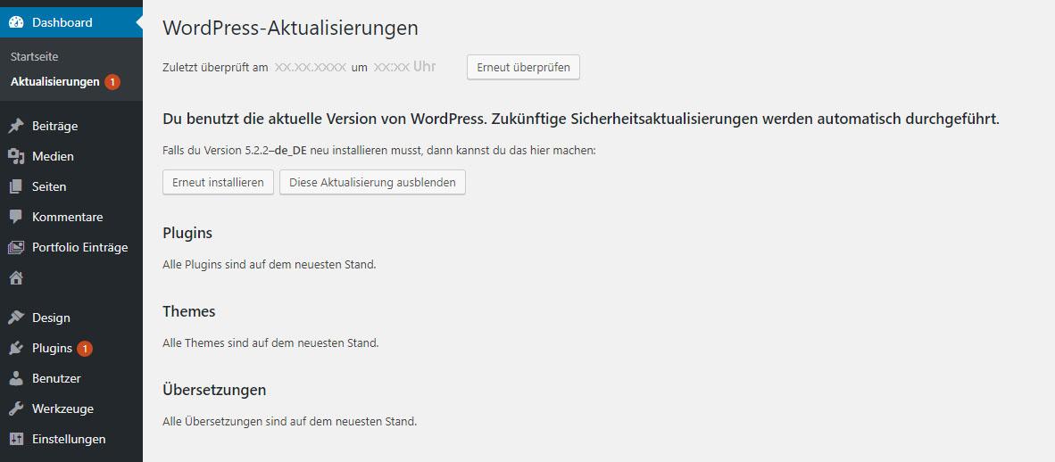 WordPress Aktualisierung Update Zähler zeigt immer eine Zahl an