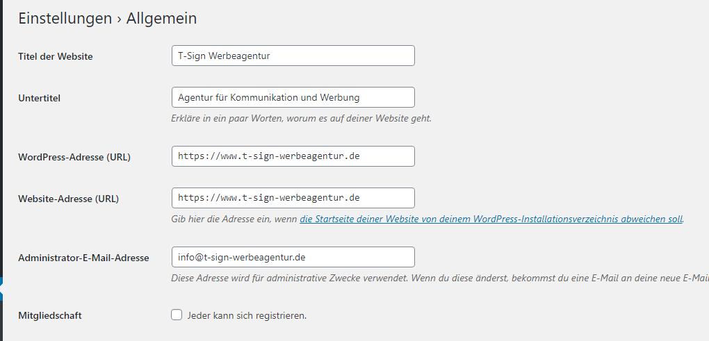 Formular WordPress Einstellungen Allgemein